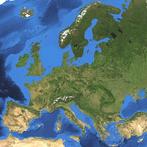 Satellite picture of Europe. © Koyos | Wikimedia Commons