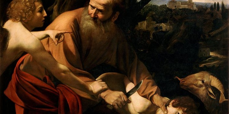 """Caravaggio's """"The Binding of Isaac,"""" oil on canvas. [Public Domain]"""