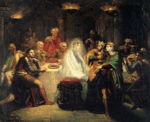 """Macbeth seeing the ghost of Banquo"" by Théodore Chassériau. Oil on wood, 1854. © Public Domain 