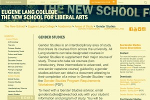 Gender Studies at Eugene Lang College