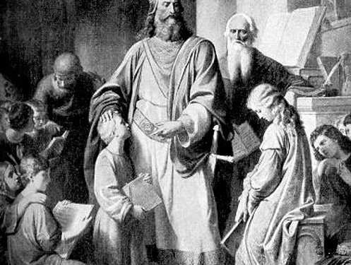 """Charlemagne Visiting a Boys' School"" (detail), engraving by Karl von Blaas © Unknown 