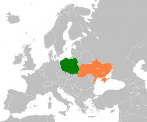 Map showing Poland in Green and Ukraine in Orange © Dancingwombatsrule | Wikimedia Commons