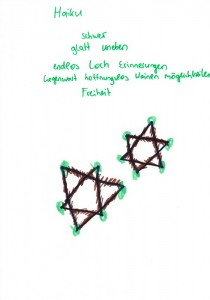 Haiku and drawing exercise by a child visiting the Holocaust Memorial in Berlin © Unknown child | Irit Dekel