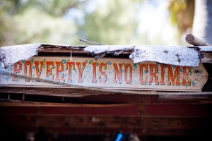 """POVERTY IS NO CRIME"" - Sign decorating a house in Virginia Key, Miami, Florida © Thomas Hawk 