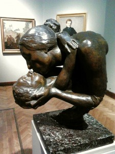 """Motherhood,"" bronze sculpture by Wacław Szymanowski, 1901, in the National Museum in Warsaw, Poland. © BurgererSF 