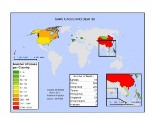 Map of infections caused by the Chinese SARS virus, compiled from WHO data © Pauline Strickland | Wikimedia Commons
