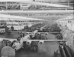 B-24 Liberator bombers in production at Willow Run during WWII © Howard R. Hollem | Library of Congress
