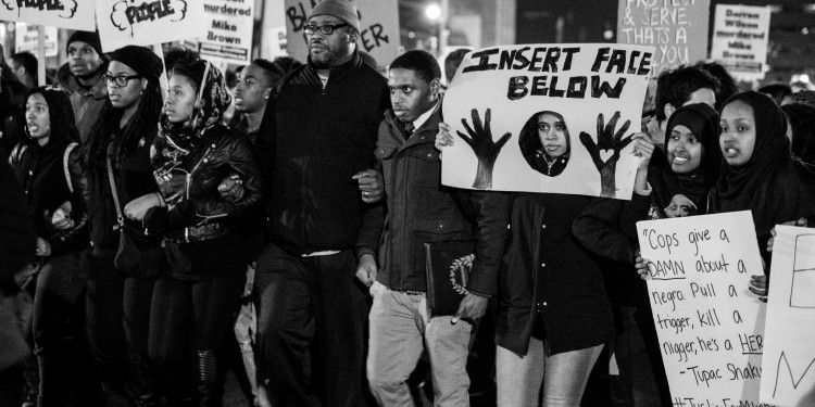 Marchers in Washington, DC, protest the grand jury verdict in the case of the shooting of Michael Brown, Nov. 26, 2014 ©  Rbrammer | Flickr