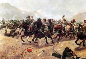 Royal Horse Artillery fleeing from Afghan attack at the Battle of Maiwand © Richard Caton Woodville | Wikimedia Commons