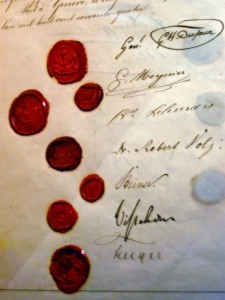 The signature page of the original Geneva Convention of 1864, bearing the signature of several delegates © soham_pablo | Flickr