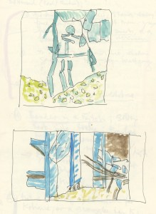 Drawings of the ruins as seen in camera view-finder at different magnifications © Michael Taussig | Courtesy of the author