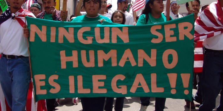 """No Human Being is Illegal,"" Los Angeles, 2006 ©  Jonathan McIntosh 