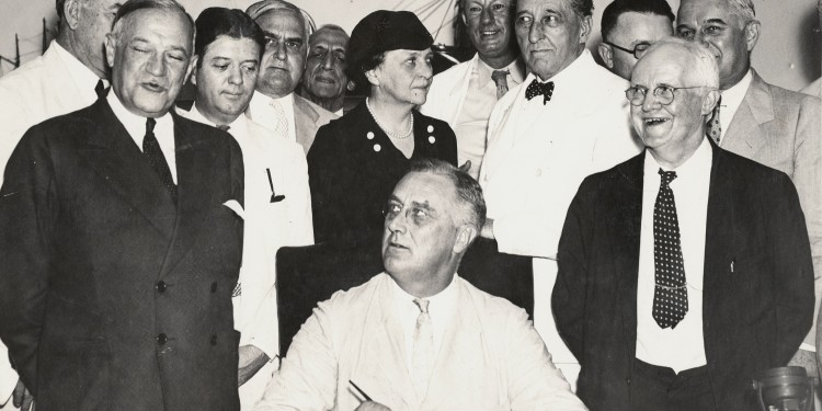 President Roosevelt signs the Social Security Act into law, 1935 © FDR Presidential Library & Museum | Flickr