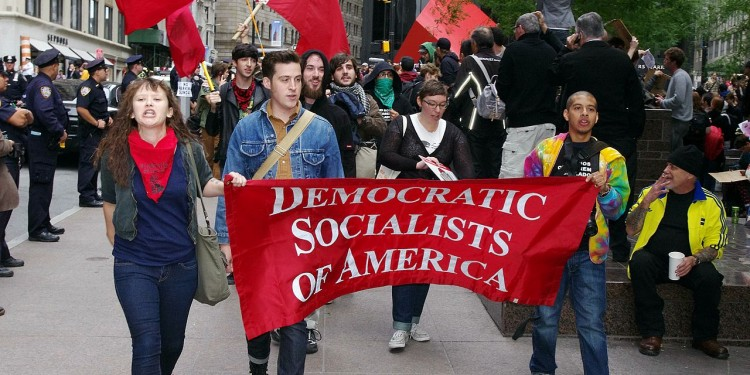 Members of the Democratic Socialists of America march at the Occupy Wall Street protest in New York, 2011 © David Shankbone | Wikimedia Commons