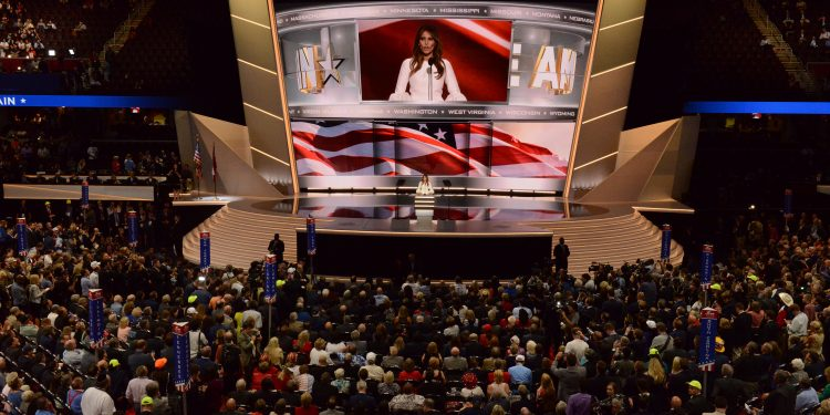 ABC NEWS - 7/18/16 - Coverage of the 2016 Republican National Convention from the Convention Center in Cleveland, Ohio, which airs on all ABC News programs and platforms.  David Muir interviews Donald Trump, Jr. on the stage of the convention. (ABC/ Fred Watkins)    MELANIA TRUMP | Flickr