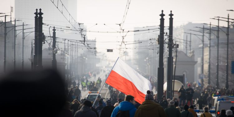 WARSAW, 27 February 2016 - On Saturday over 150 thousand people from all over Poland joined in demonstrations against the current government. © Jaap Arriens | Flickr