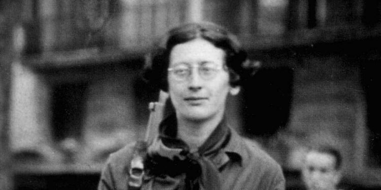 Simone Weil (1909–1943) – a French philosopher, Christian mystic and political activist of Jewish origin. Simone Weil, a soldier during the Spanish Civil War (1936)