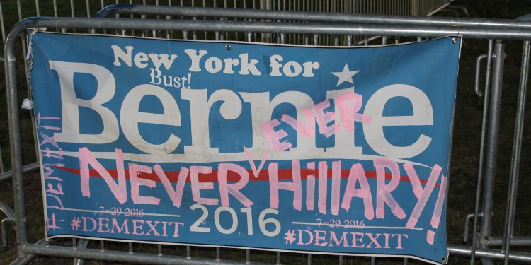 Modified Sanders sign from the Demexit/Bernie or Bust protests during the DNC, 2016 © Stanley570 | Flickr