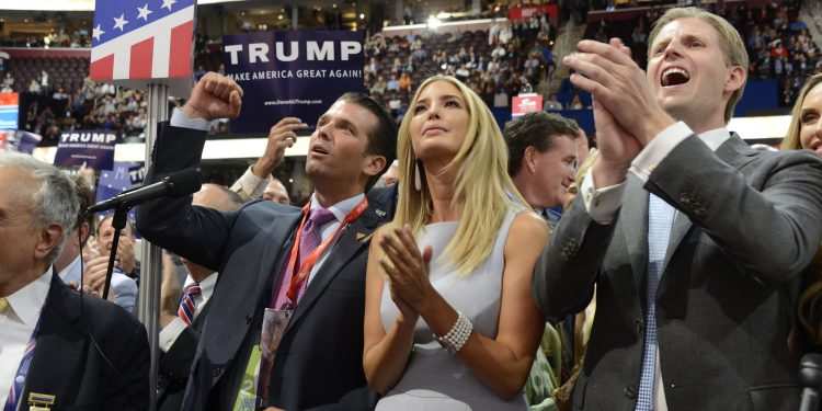 ABC NEWS - 7/19/16 - Coverage of the 2016 Republican National Convention from the Convention Center in Cleveland, Ohio, which airs on all ABC News programs and platforms.  Donald Trump's family announces the New York votes that made their father the Republican Presidential candidate.   (ABC/ Ida Mae Astute)   TRUMP FAMILY - DONALD TRUMP, JR., IVANKA TRUMP, ERIC TRUMP