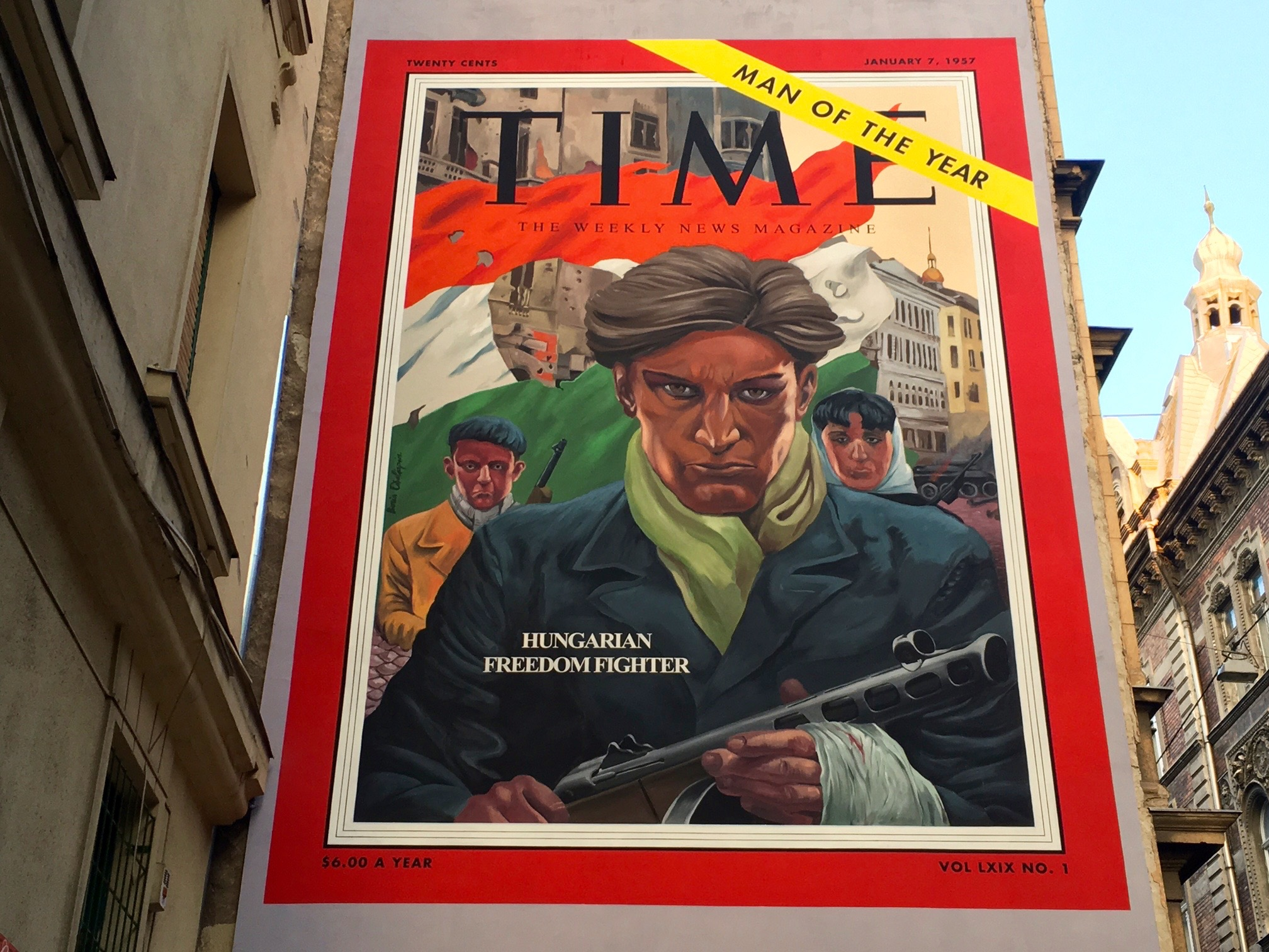 Time magazine cover from January 7, 1957, painted as a mural on a Budapest apartment building © Virág Molnár
