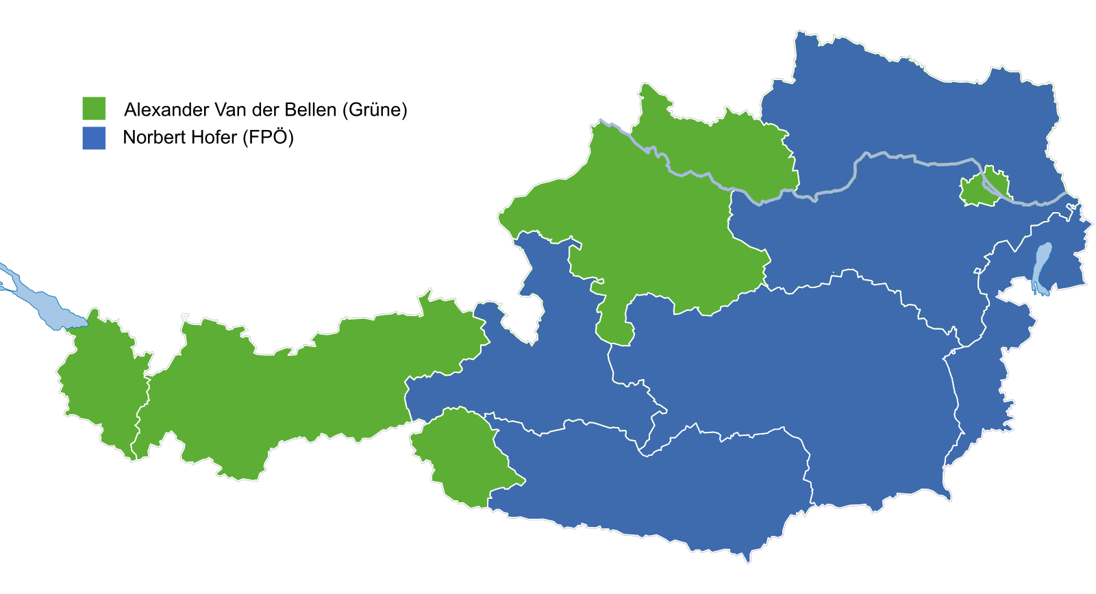 Results by state of initial (annulled) second round from the 2016 Austrian presidential election.  Furfur | Courtesy of the author
