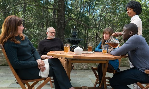 'Strange creepy-comic land': Catherine Keener, Bradley Whitford, Allison Williams, Betty Gabriel and Daniel Kaluuya in Get Out. Photograph: Justin Lubin/Universal Pictures