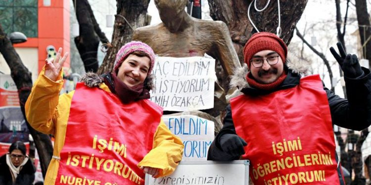 Nuriye Gülmen (left) and Semih Özakça (right) in front of in front of the Human Rights Monument in Ankara. Source: Bianet  Read more at http://independentturkey.org/gulmen-ozakca-hunger-strike-protest-state-emergency/#xWYPTpjI50AFQ0Jq.99