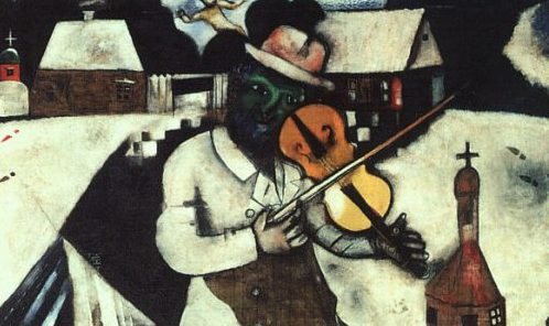 """A portion of Marc Chagall, """"The Fiddler"""" (1912). (Wikimedia Commons)"""