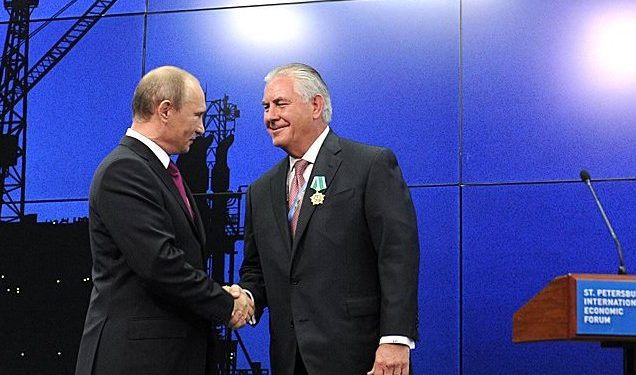 President Vladimir Putin   awards The Order of Friendship to Chairman of the Board of Directors of ExxonMobil Rex Tillerson on June 13, 2013. Photo credit: Press Service of the President of Russia.