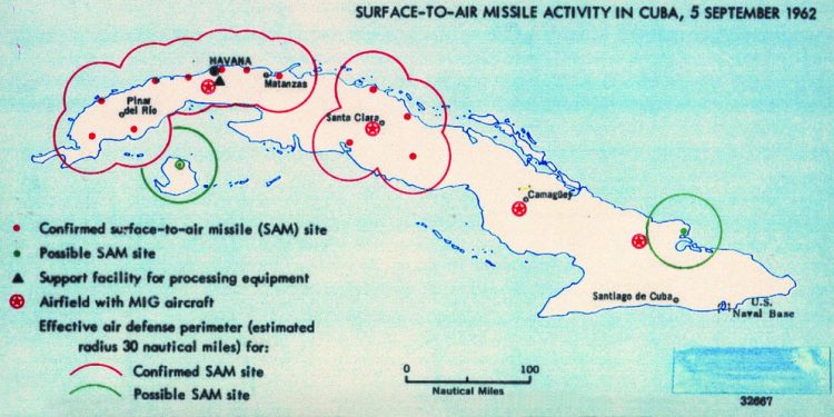 Map created by American intelligence showing Soviet activity in Cuba, September 5 1962 (Wikimedia Commons)
