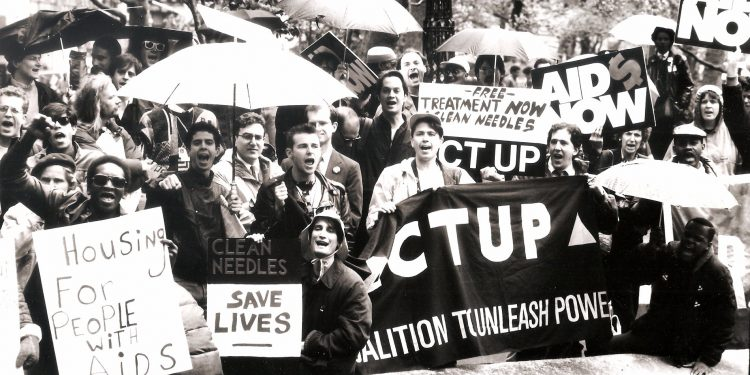 New York City - May 2, 1988:  ACTUP demonstration in City Hall Park ©  Lee Snider | AIDS at Home: Art and Everyday Activism