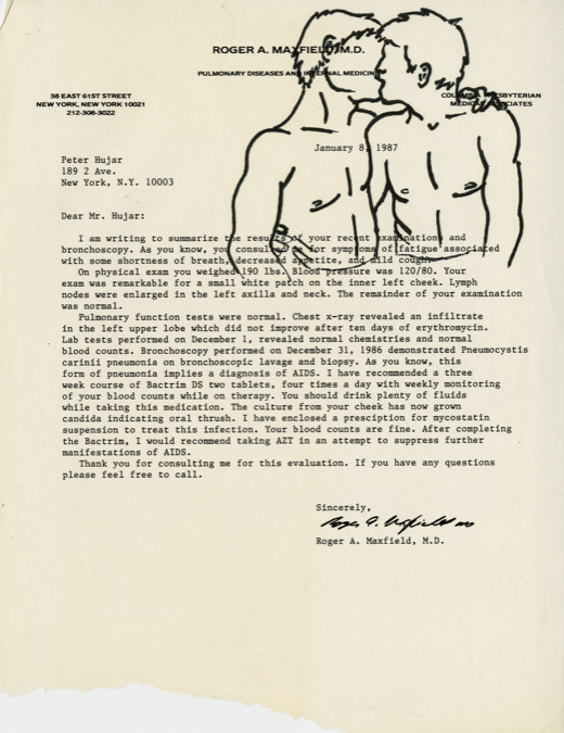 "Peter Hujar's diagnostic letter altered with a drawing of two men kissing, from DW's ""Fuck You Faggot-Fucker"" series © David Wojnarowicz 