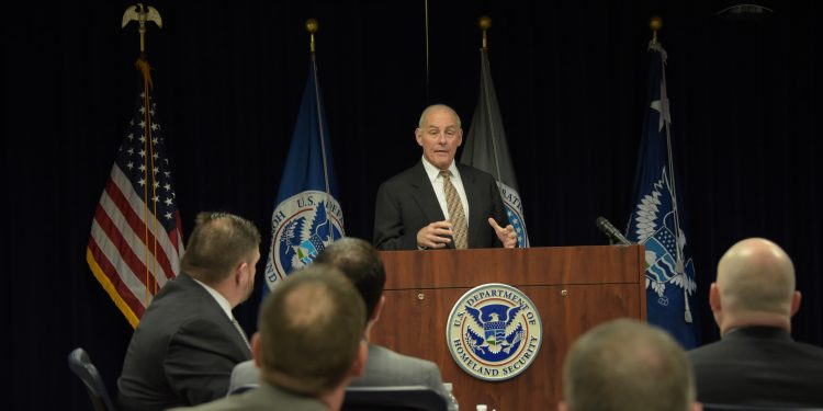 DALLAS - Secretary of Homeland Security John Kelly addresses an audience of U.S. Immigration and Customs Enforcement at the ICE Academy in Dallas, March 7, 2017. At the academy, Kelly met with ICE leadership to discuss the missions of HSI, and Enforcement and Removal Operations, along with standards for ICE training programs. Official DHS photo by Jetta Disco. Public Domain, https://commons.wikimedia.org/w/index.php?curid=57077449