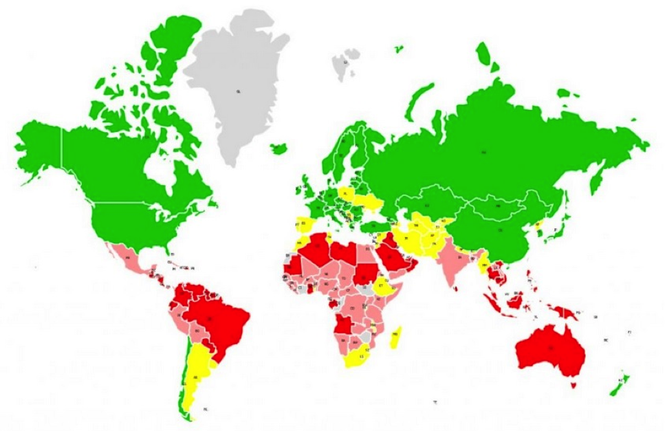 Map 2: Climate Stabilization Transfers Grantors (Green & Yellow) & Beneficiaries (Orange & Red) until 2100